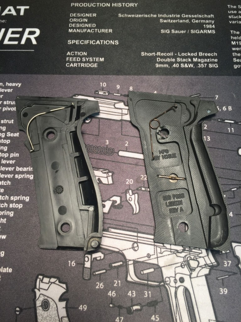 Old vs. new P226 grips and trigger bar springs