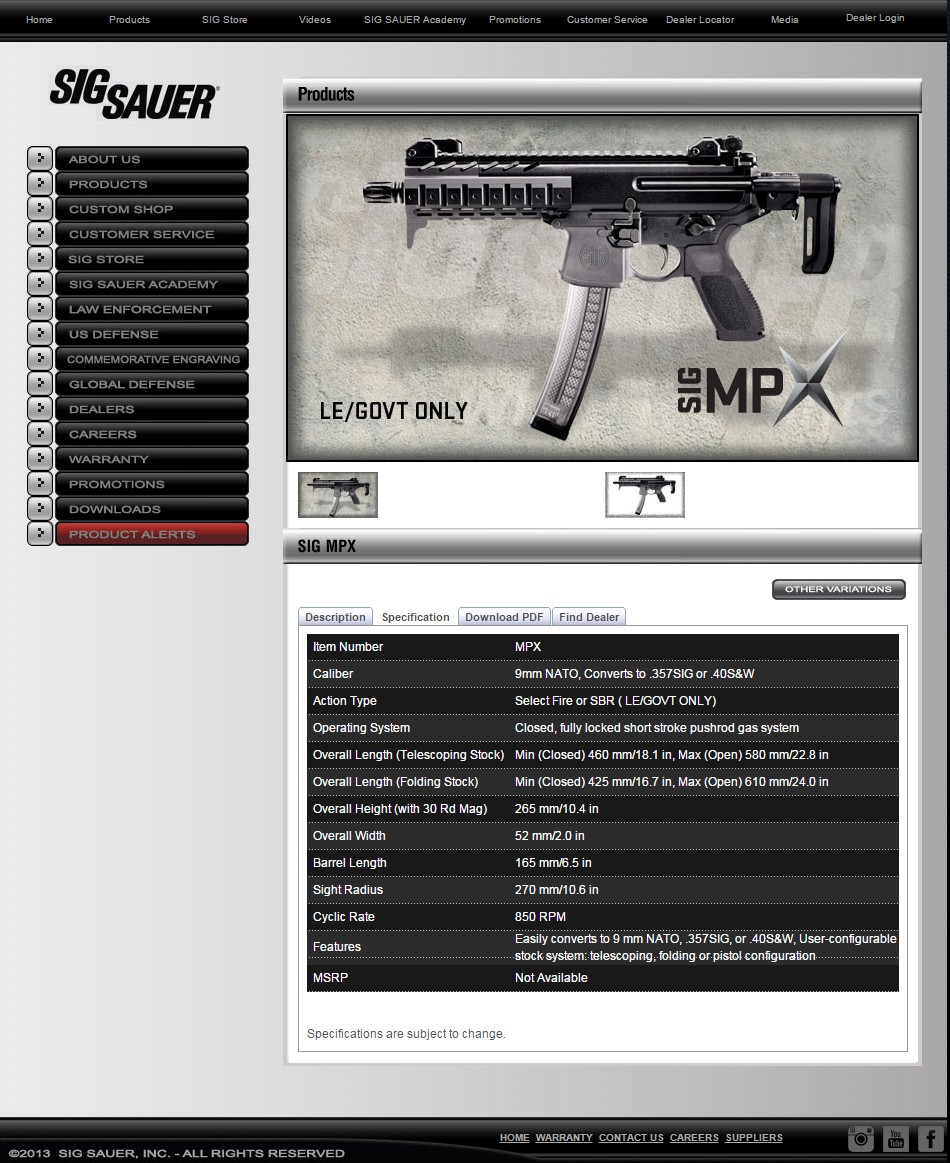 "Screen shot of SIG's MPX website page ""Specifications"" tab"