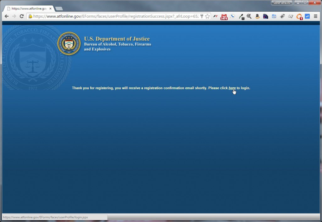 ATF eForms registration confirmation screen