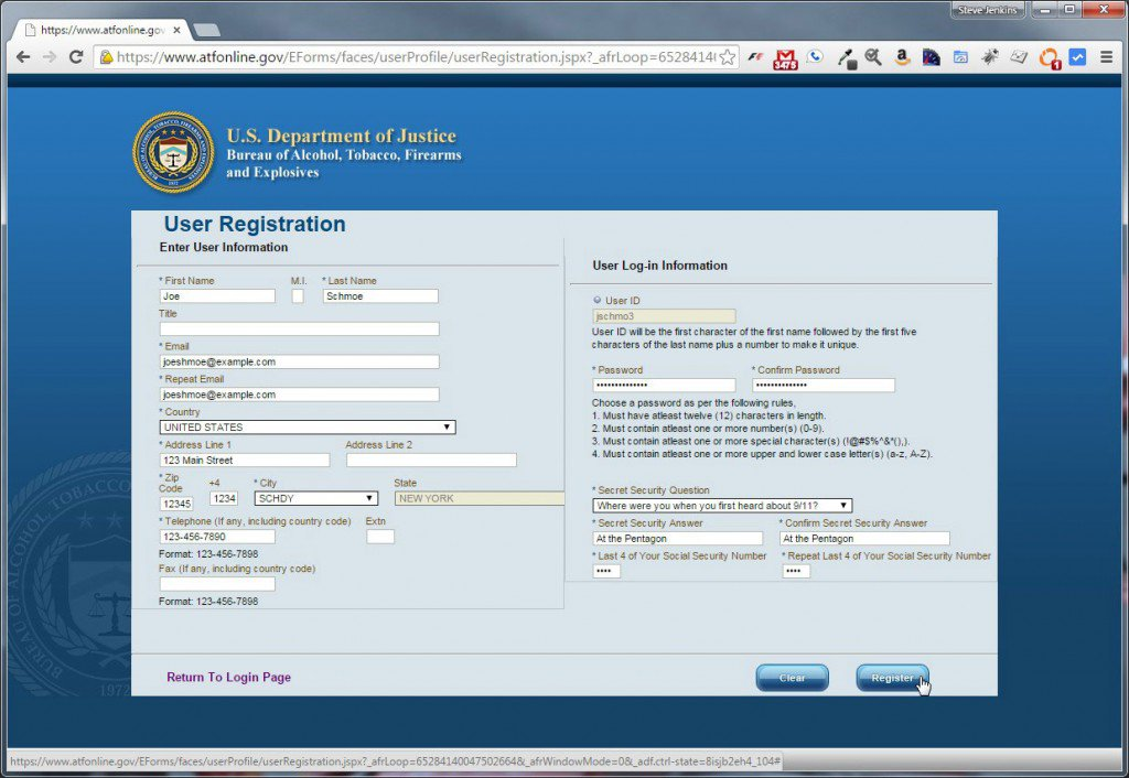 ATF eForms User Registration