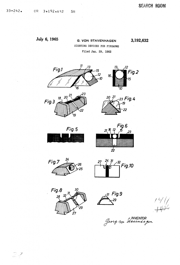 Original sketch by Georg Von Stavenhagen for US Patent 3192632