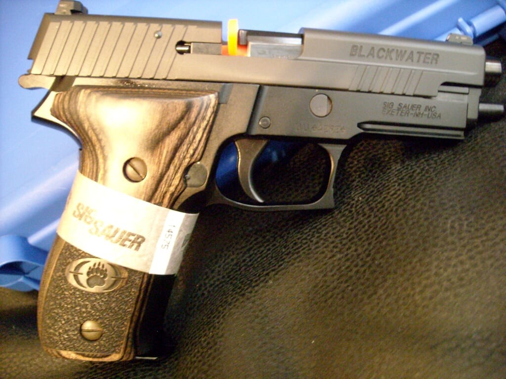 Late-run P226 Blackwater with updated inscription on the slide