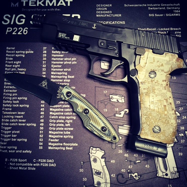 Digital Camo grips on a SIG P226 MK25