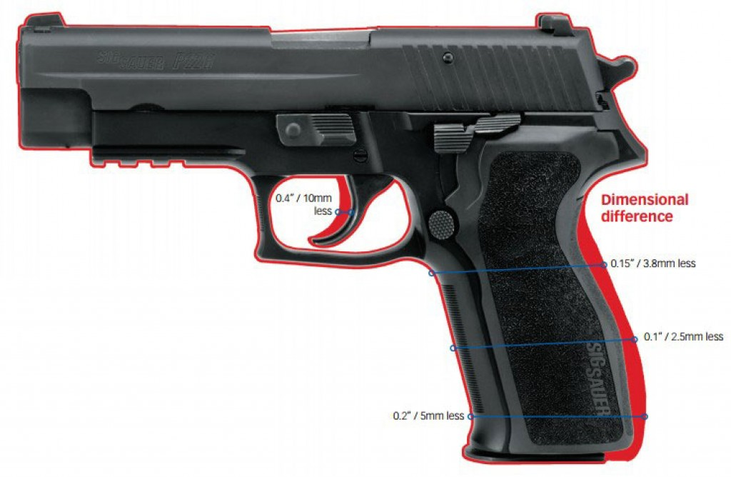 Dimensional difference between the P226 standard grip and E2 grip