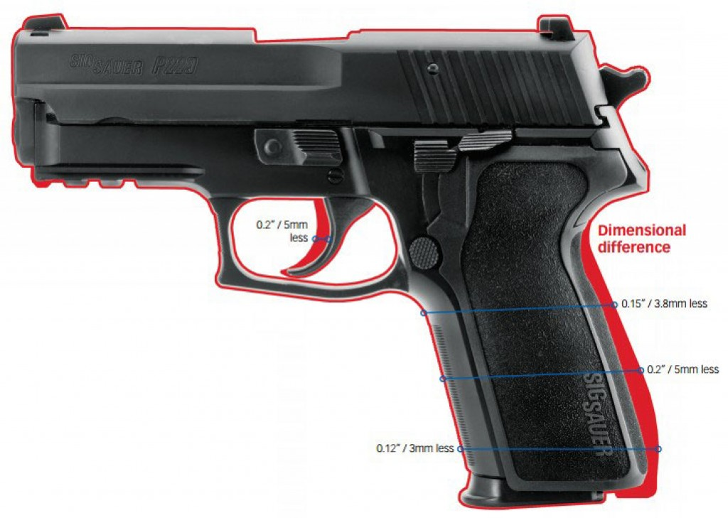 Dimensional difference between the P229 standard grip and E2 grip