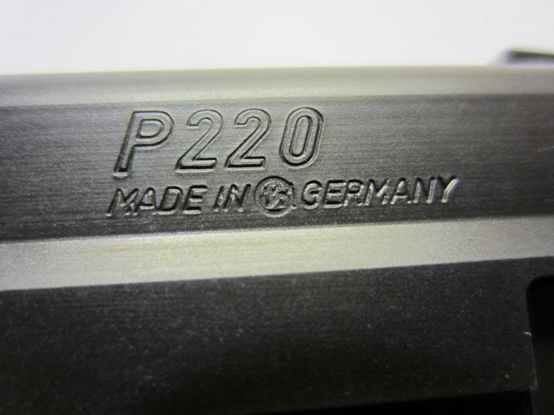 "SIG P220 with the Sauer logo ""peened"" over the ""W."" in ""W. Germany"""