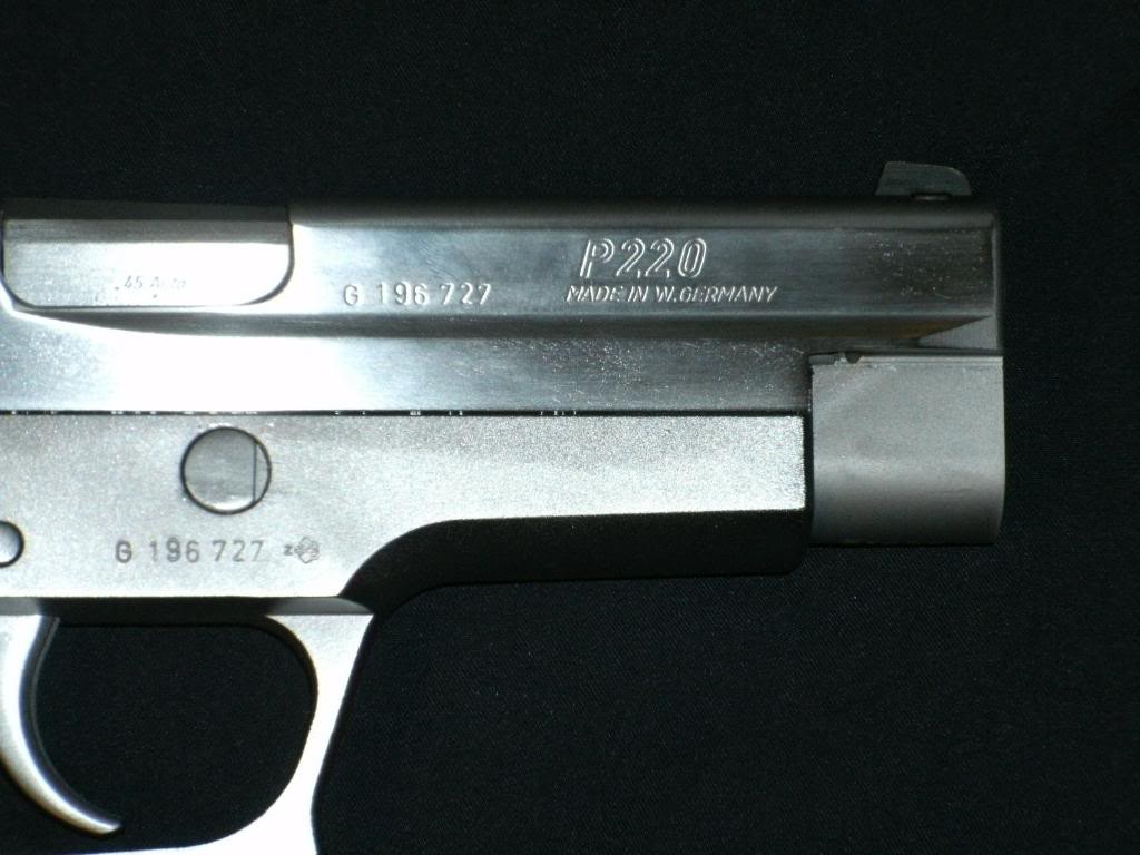 Proof mark on a West German P220 frame