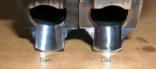 Side-by-side new vs. old SIG P6 feed ramps
