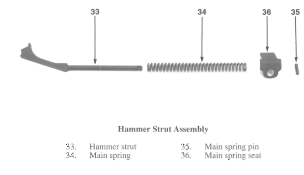 """Old style"" SIG P-Series hammer strut assembly"