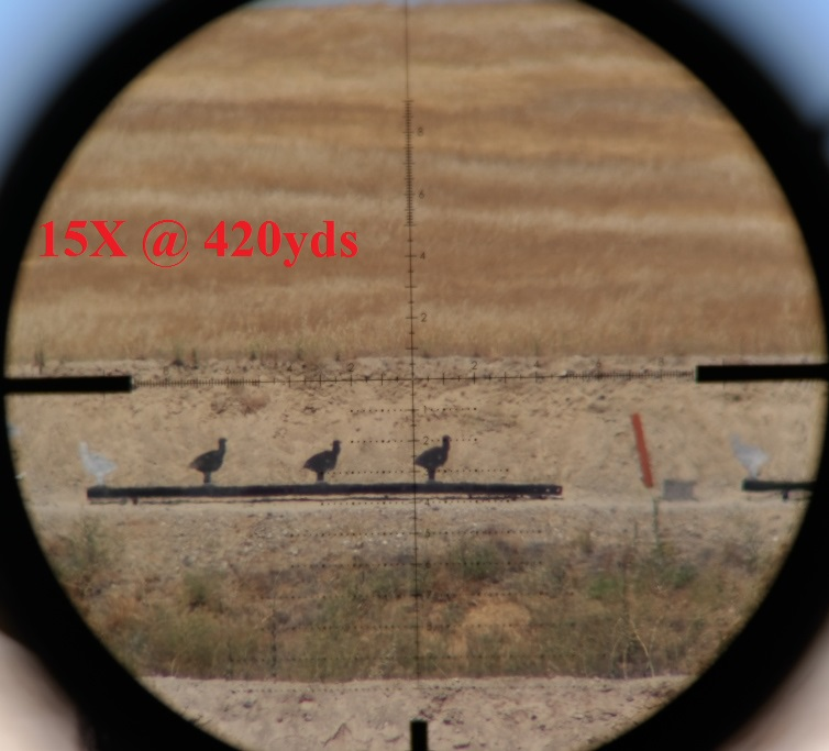 15x magnification at 420 yards